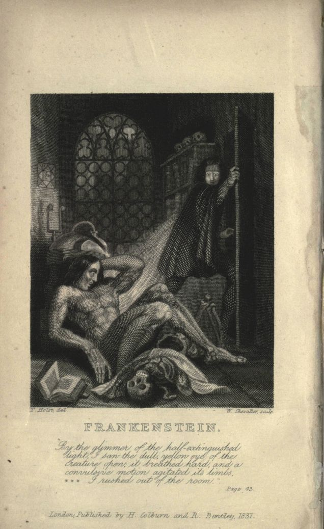 "The Earliest Illustration of Shelley's Frankenstein ─ The original illustration featured in the frontpiece of the 1831 edition of Mary Shelley's influential novel is going on display at the British Library, as part of a collection called ""Terror and Wonder: The Gothic Imagination."" The Creature in the 1831 illustration is fairly close to what Shelley had in mind, showing a more human-looking creature."