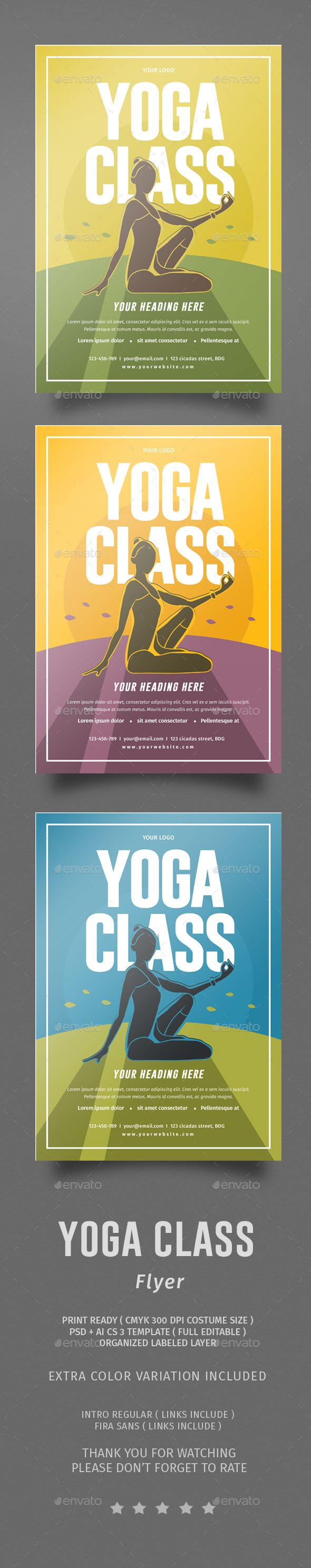 Yoga Class Flyer | Academia de baile, Diseño de folletos y Folletos