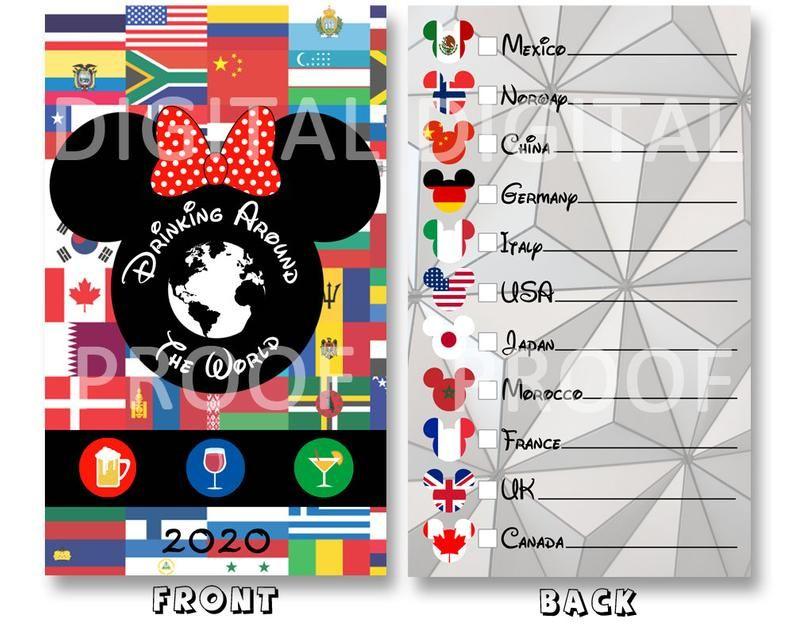 Drink Around The World Passport Printable Epcot Drink Passport Minnie Ears 2021 Instant Download Drinking Around The World Disney Drinks Epcot