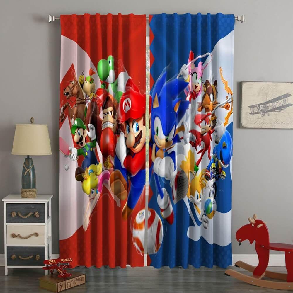 3d Printed Mario Sonic Style Custom Living Room Curtains Curtains Living Room Mario Room Contemporary Curtains