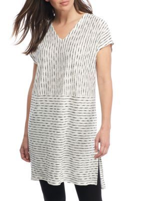 Eileen Fisher Organic Linen Jersey V Neck Tunic Organic Linens Tunic Tops Eileen Fisher