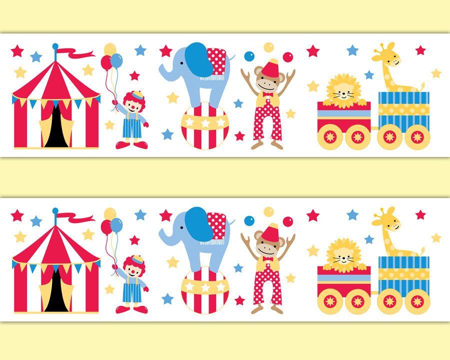 Circus Nursery Border Animal Decal Wallpaper Border Wall Art Safari ...