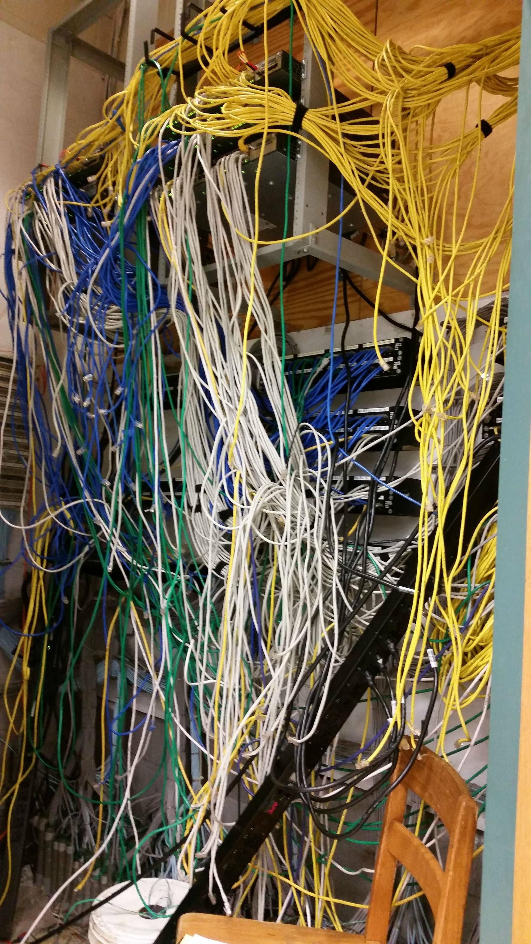 small resolution of very bad wiring server room very bad network cable plumbing rats
