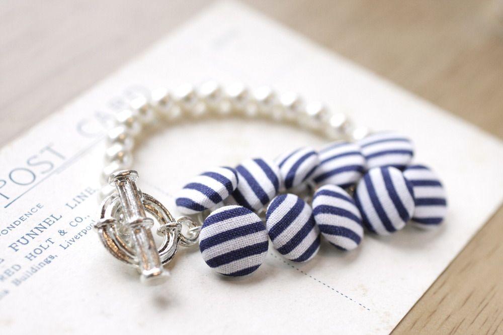 Sailor stripe button and pearls bracelet. £26.