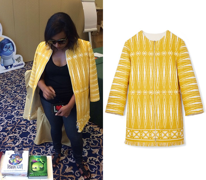 Mindy wears a yellow Tory Burch print coat in Cannes! /// Tory Burch Savora Tweed Coat - $599 (was $995)