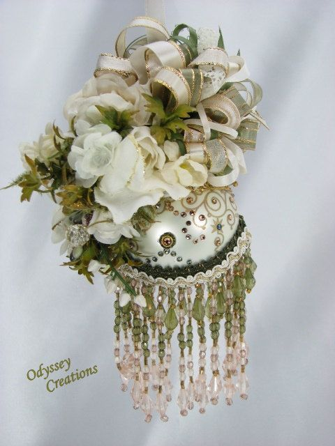 Victorian Christmas or Bridal Ornament in Light Jade or Olive Green, Ivory and pale gold