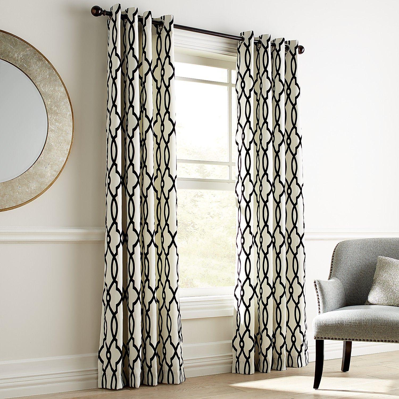 Flocked Trellis Black & White Grommet Curtain | *Curtains ...