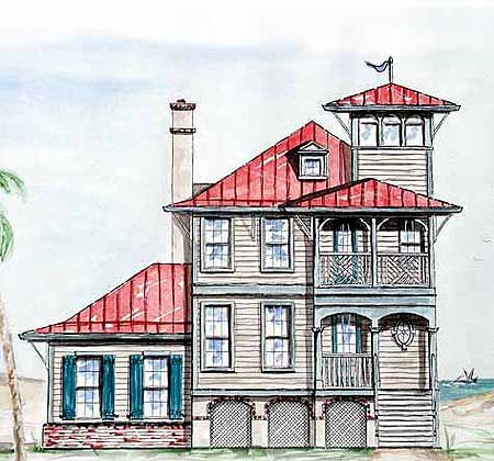 Plan 15725ge Beach House With Tower Lookout House Plans