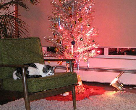 aluminum christmas tree with floor light