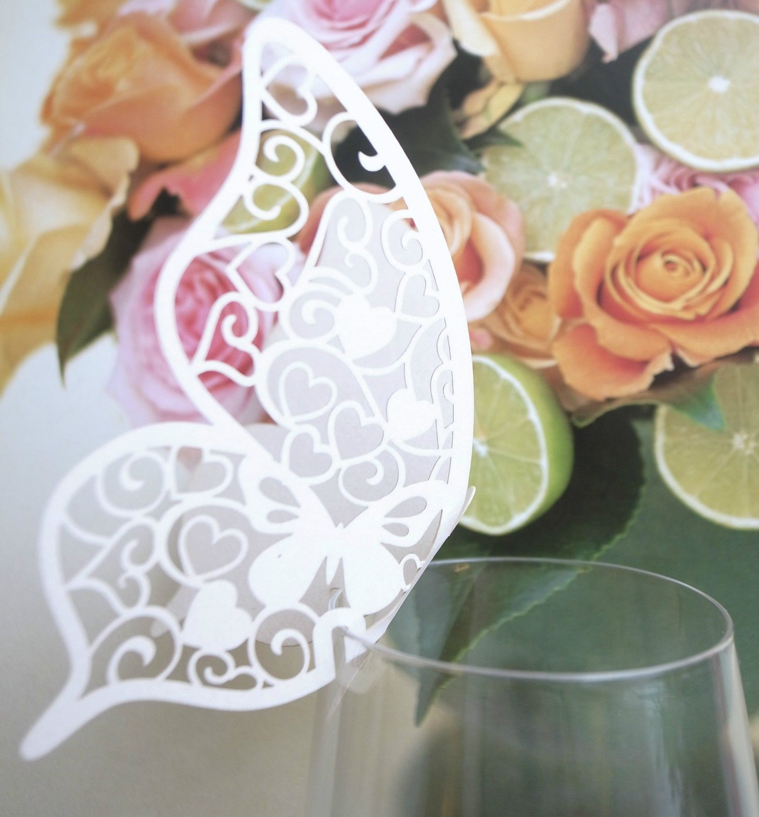 Butterfly Place Cards Wine Glass For Wedding Party For Table ...