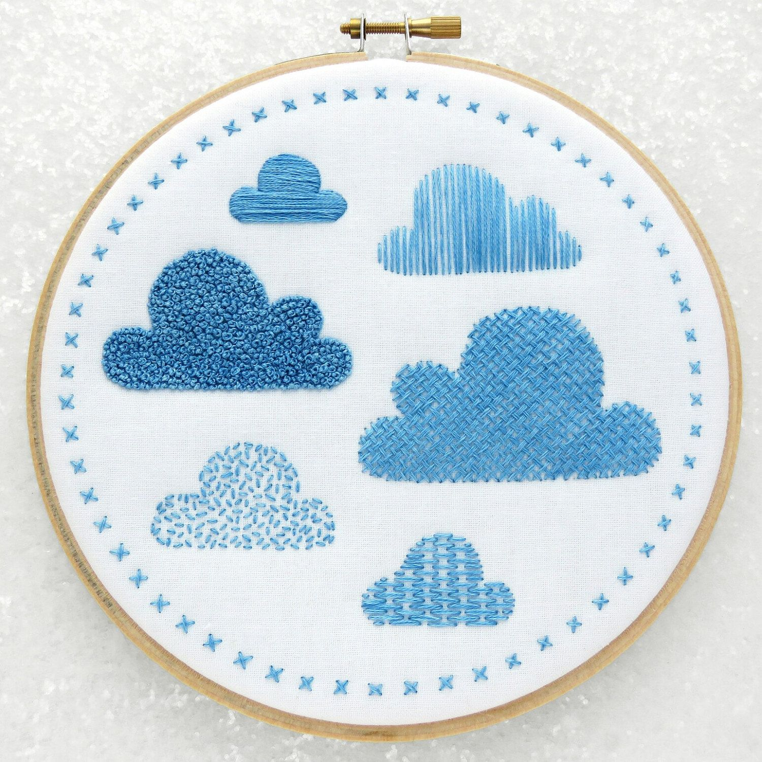 Embroidery Sampler Fabric Pattern, Clouds Hand Embroidery Kit, Modern Needlework Pattern, Beginners Hoop Art Pattern, DIY Nursery Decor