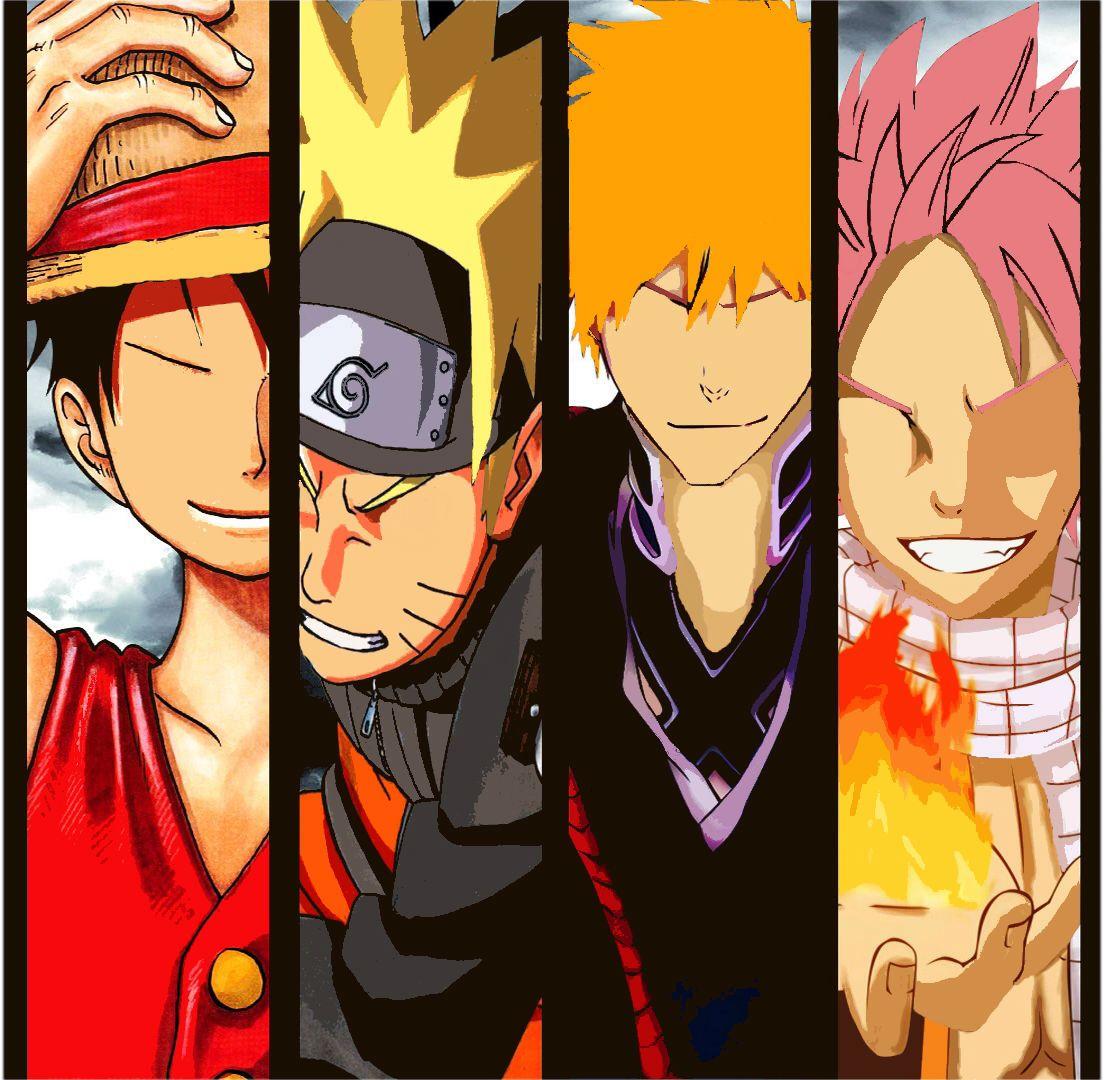 Luffy, Naruto, Ichigo, And Natsu One Piece Naruto Bleach
