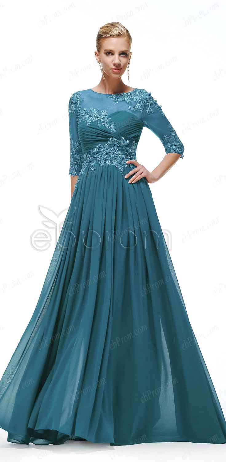 Teal modest formal dresses with sleeves | Maids, Teal and Formal