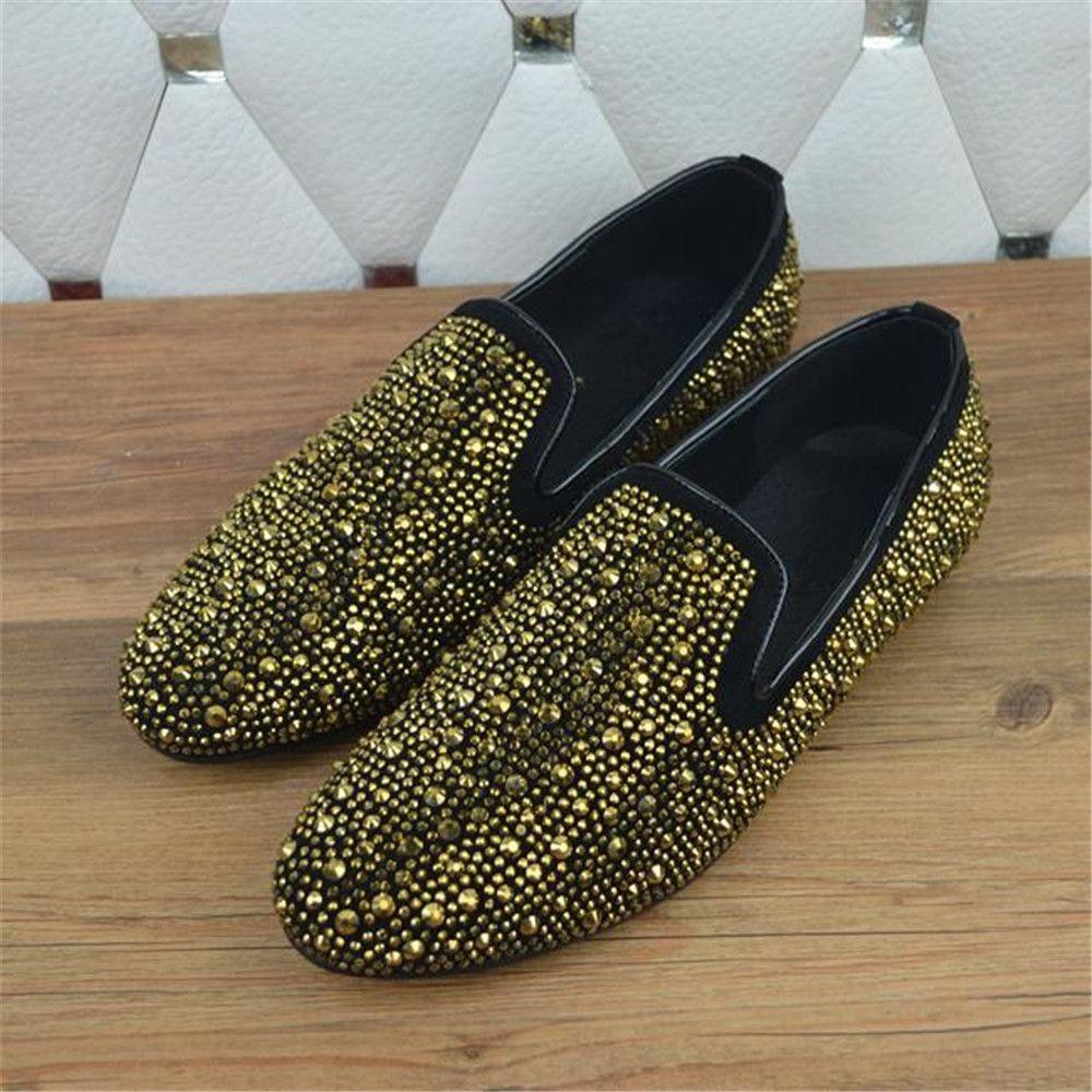 sale High Quality Black   Gold Rhinestone Round Toe Men Shoes Luxury Brand… 84d89afc4482