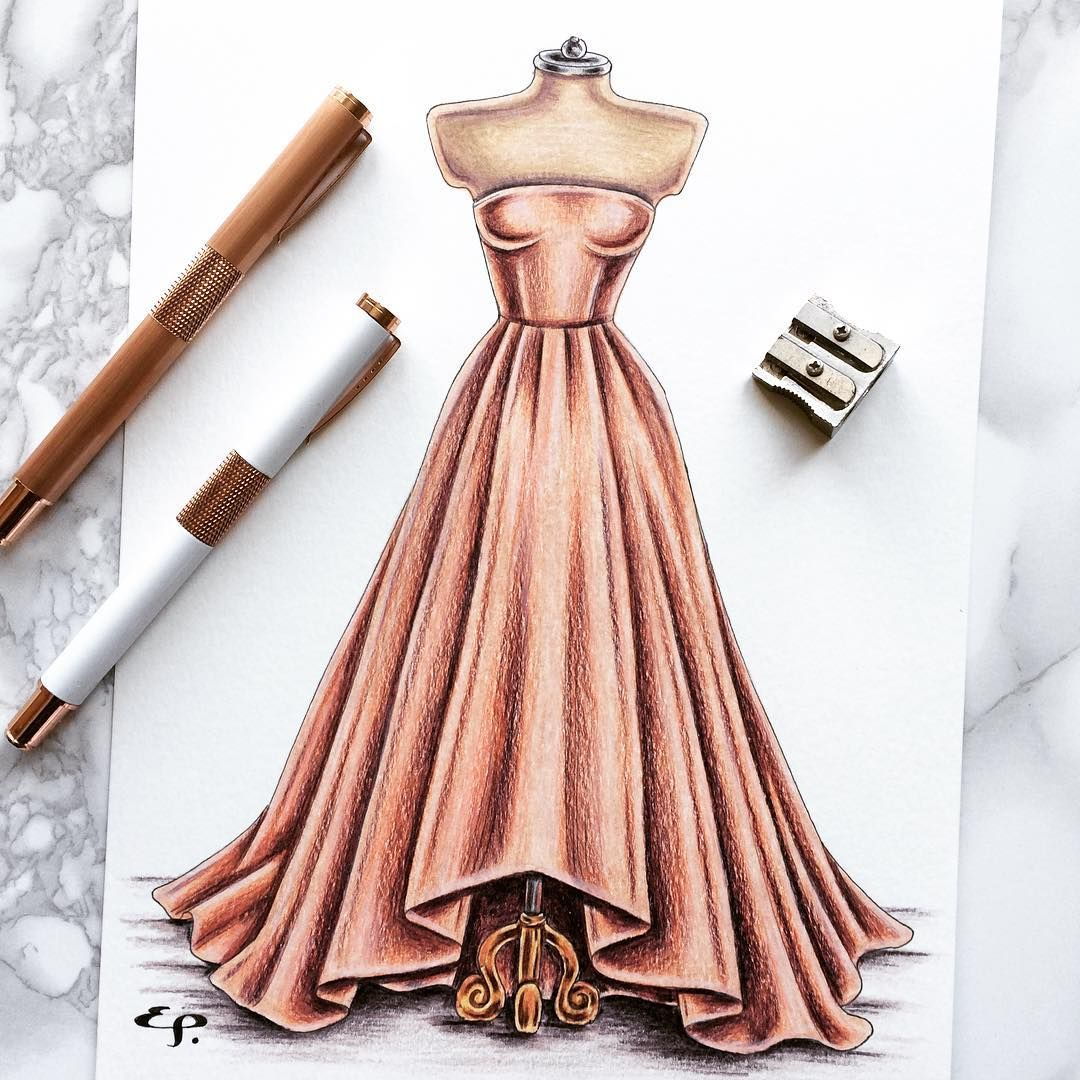 This Original Peachy Dress Sketch Will Be Going Up For Sale From My Etsy Store Later This Mon Fashion Illustration Dresses Dress Design Sketches Dress Sketches
