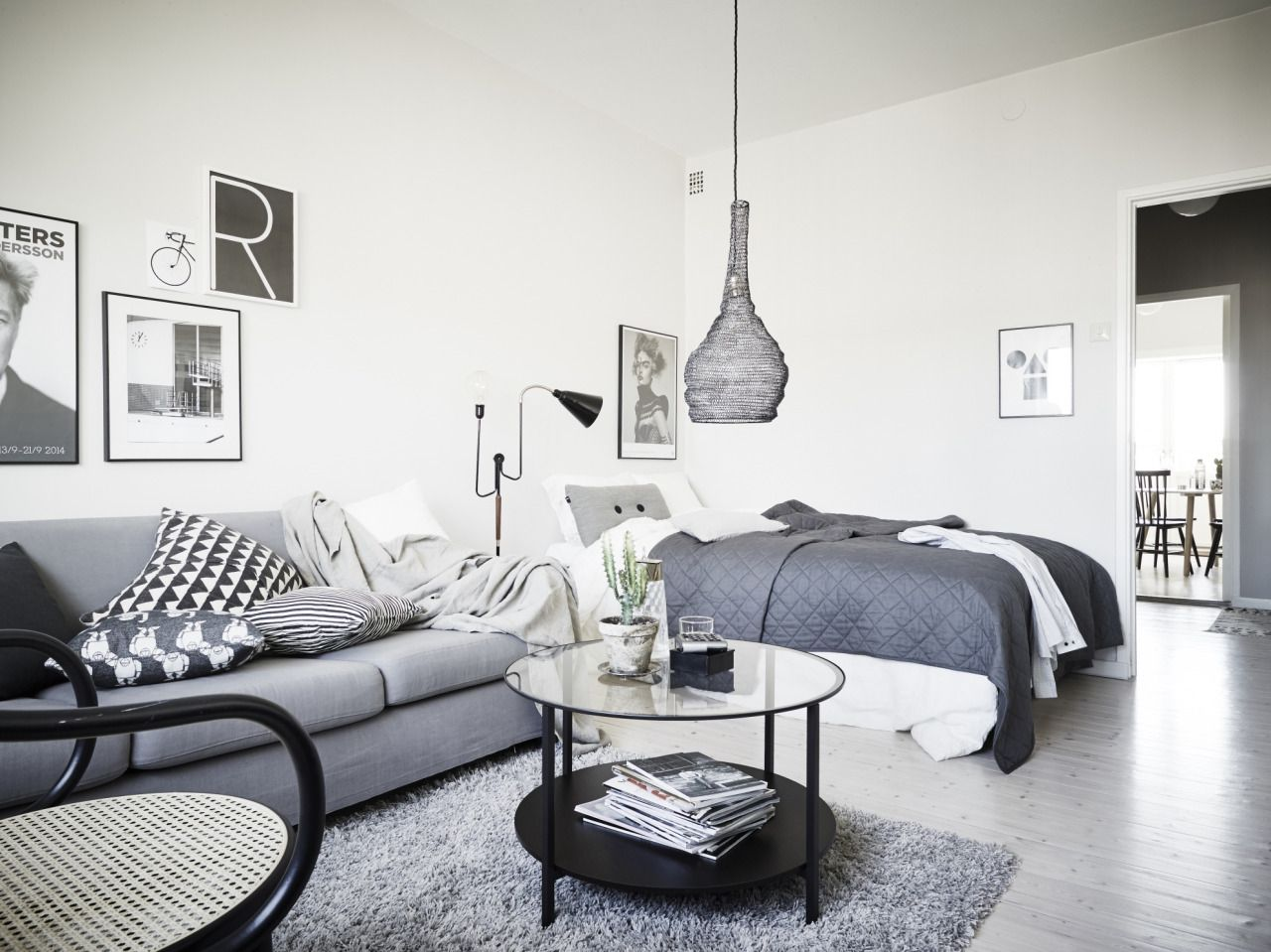 Grey And White Studio Apartment With Images Interior Design
