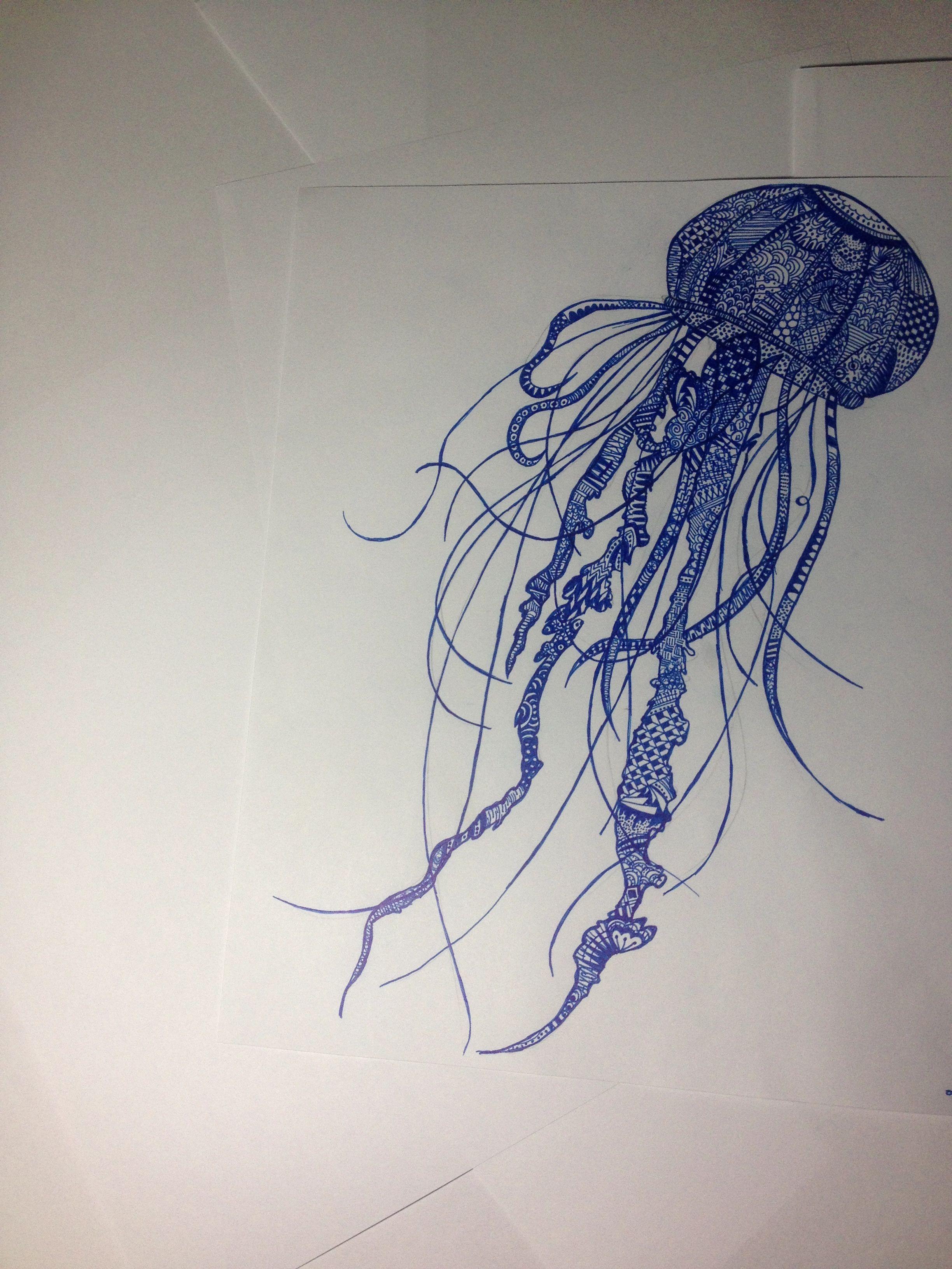 Line Drawing Jellyfish : Zentangle jellyfish drawing ed