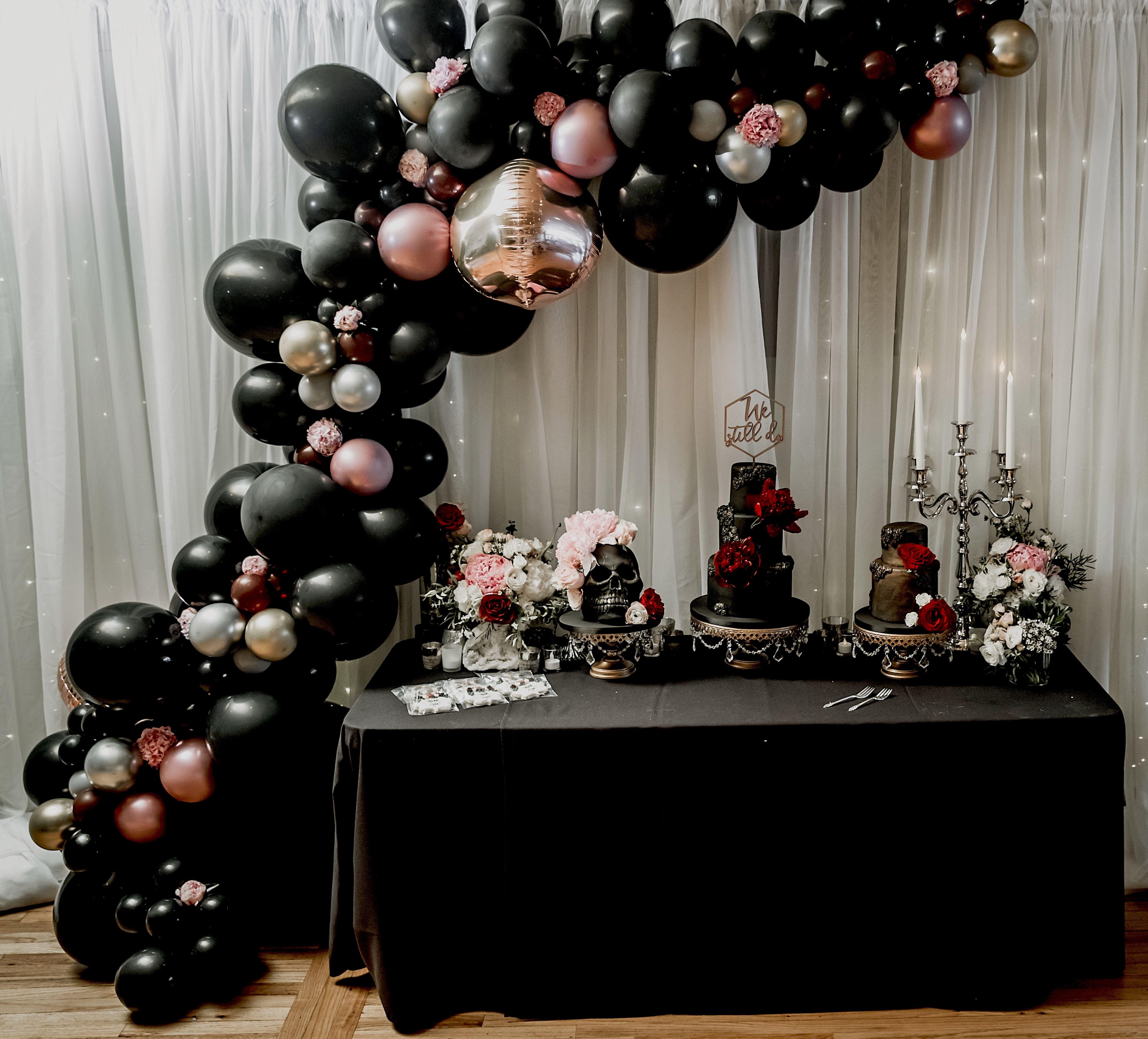 Gothic Balloon Garland Black Balloon Garland Black And Rose Gold