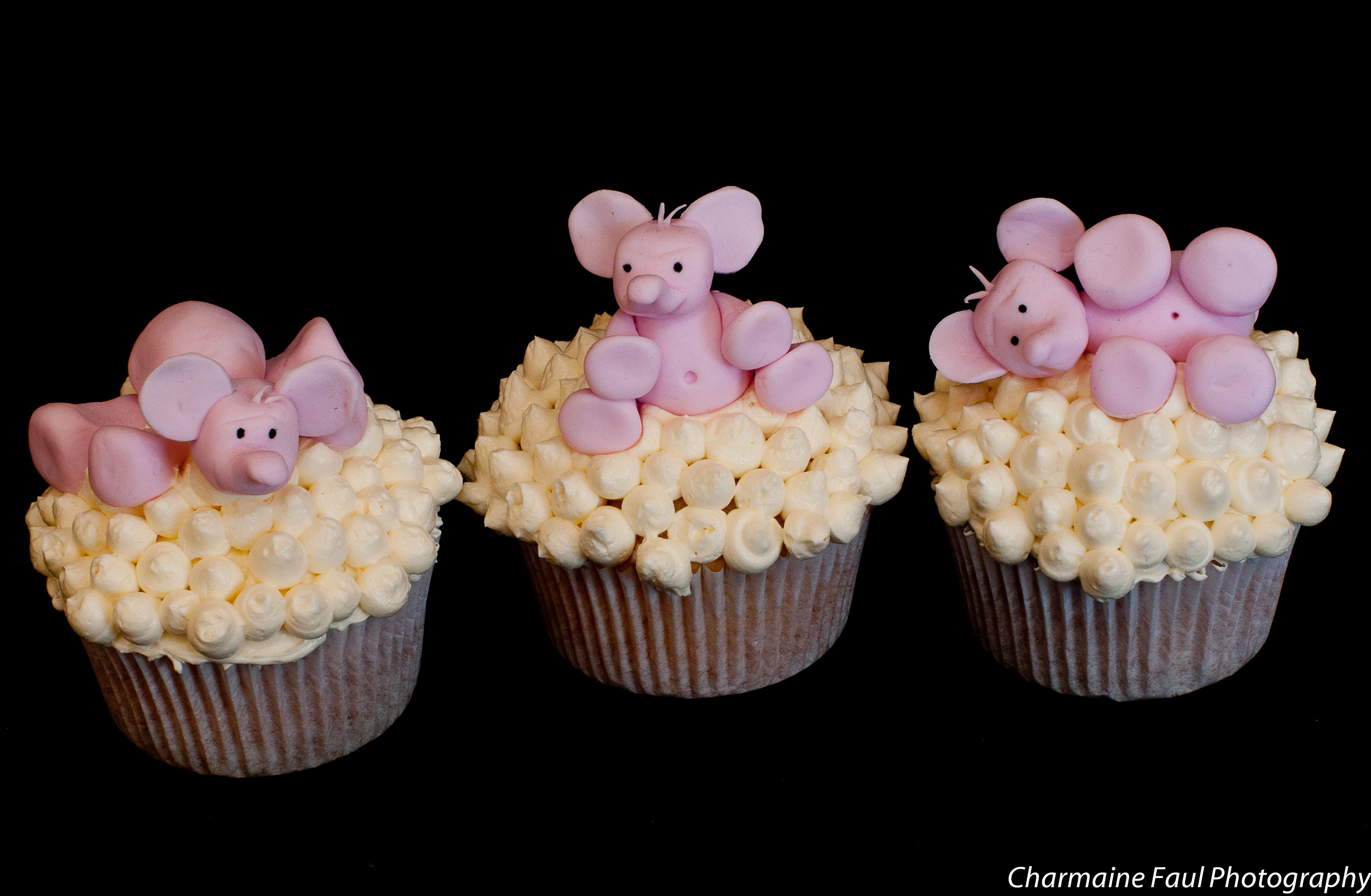 Baby Pink Elephant Baby Shower Cupcakes