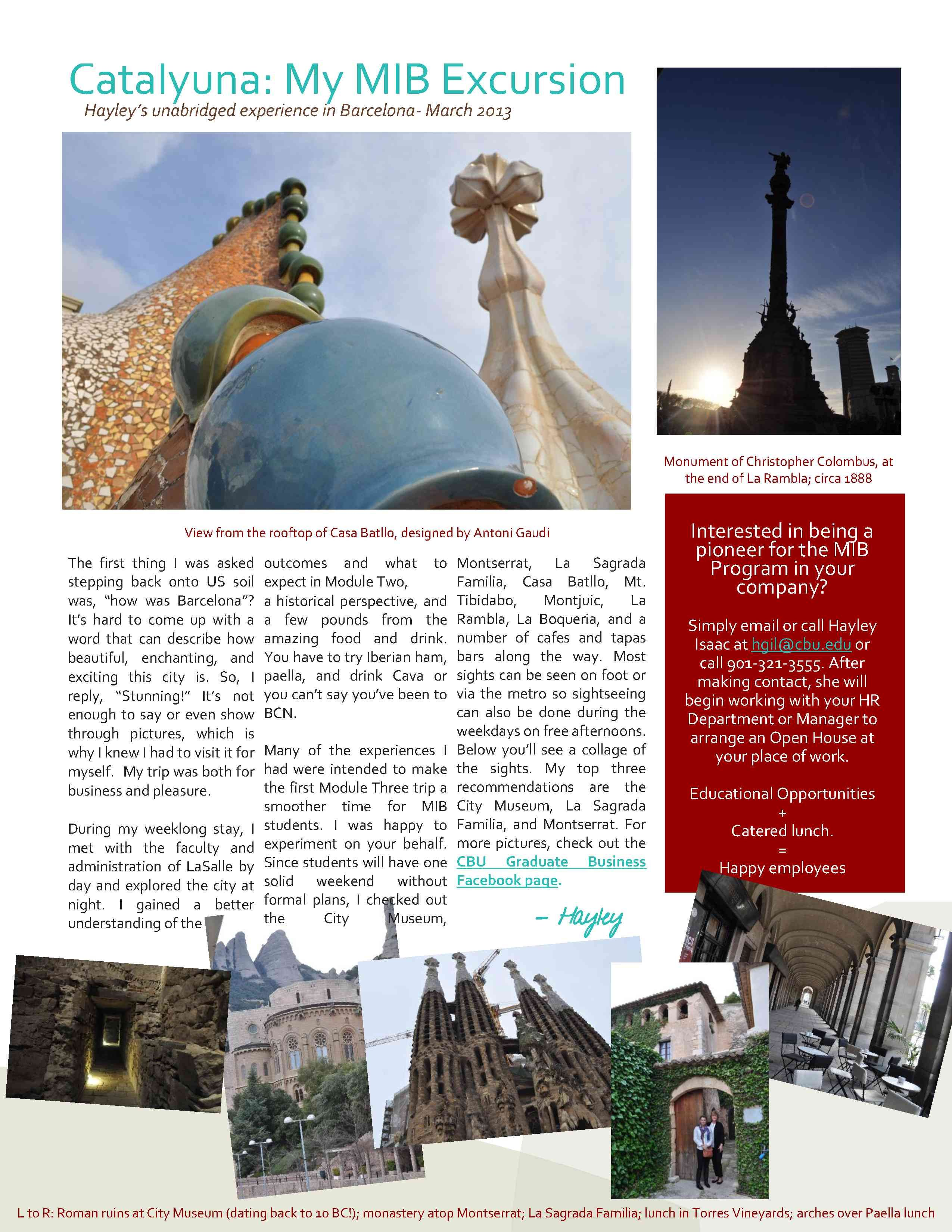 Master Of International Business Newsletter Spring  Page Two