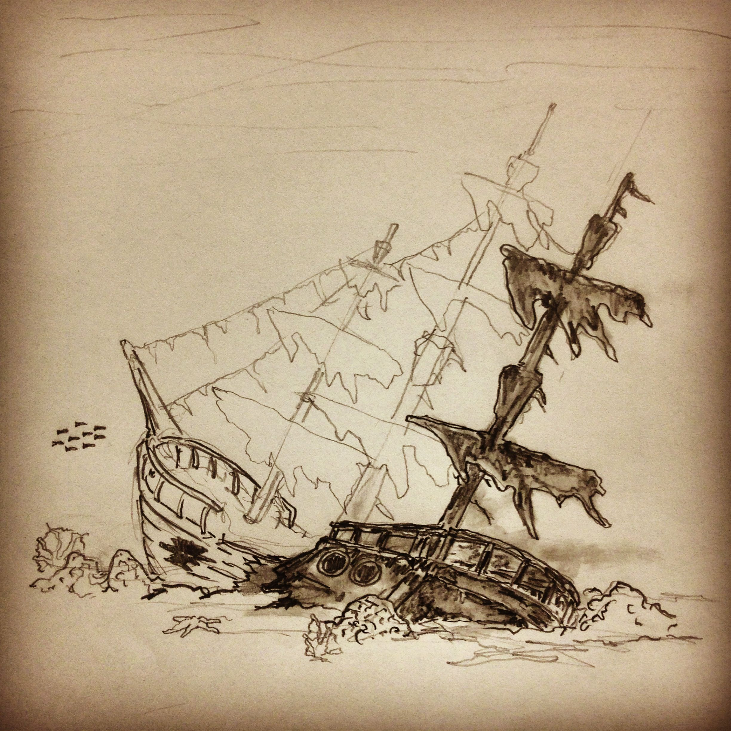 21cd31a84 Progress shot on this Shipwre… | Tattoo Art / Sketches - All Pieces ...