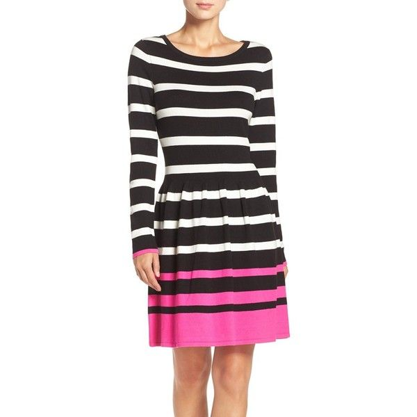 Womens Eliza J Stripe Fit Flare Sweater Dress 170 Bgn Liked