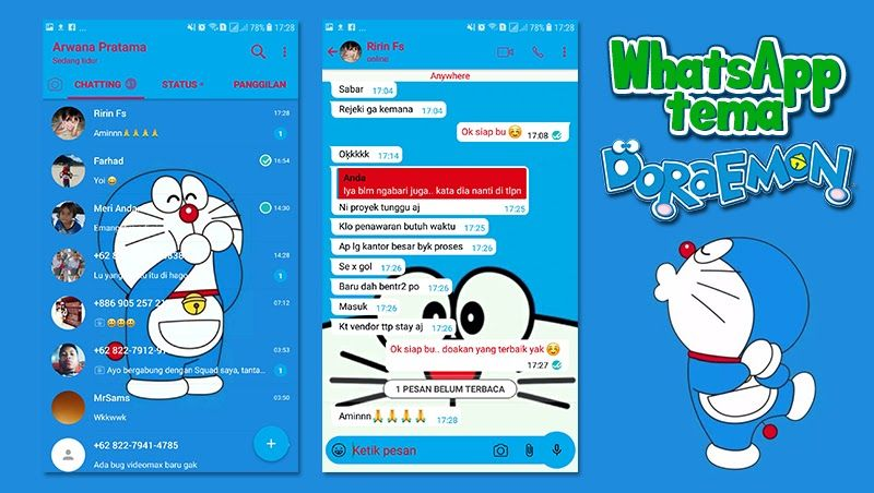Download Whatsapp Tema Doraemon Mod Apk di 2020 Lucu