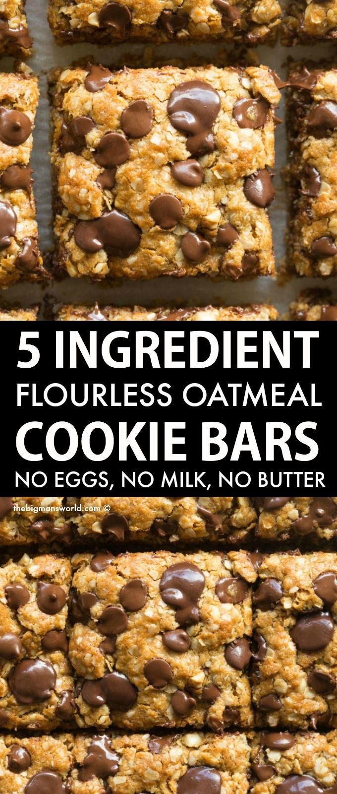Flourless Vegan Gluten-Free Oatmeal Cookie Bars made with just 5 ingredients! Soft, chewy and gooey in one, they require just one bowl and 12 minutes to make! No butter, no oil, and no eggs!