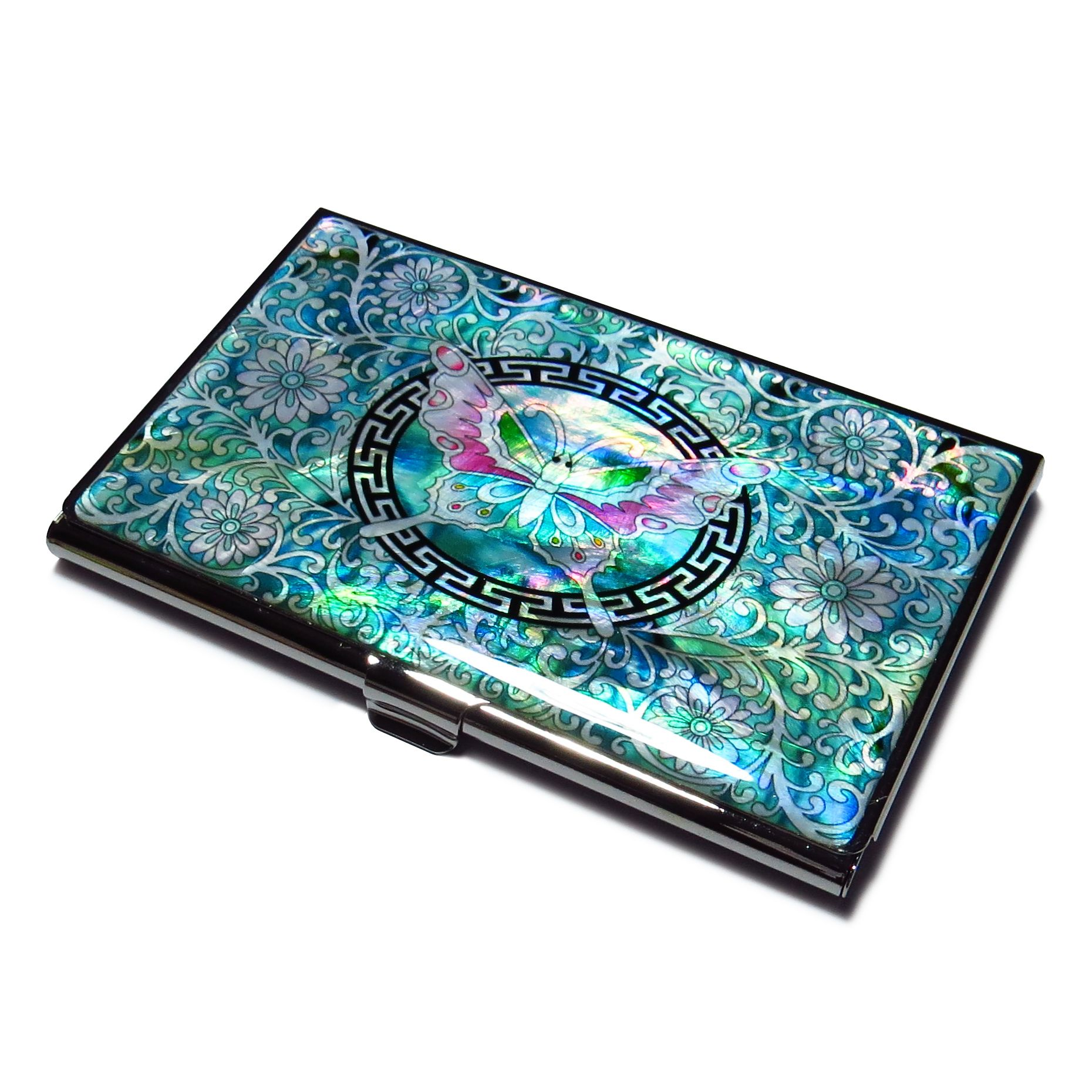 Butterfly emerald korean mother of pearl business card case metal butterfly emerald korean mother of pearl business card case metal id card holder slim money wallet magicingreecefo Image collections