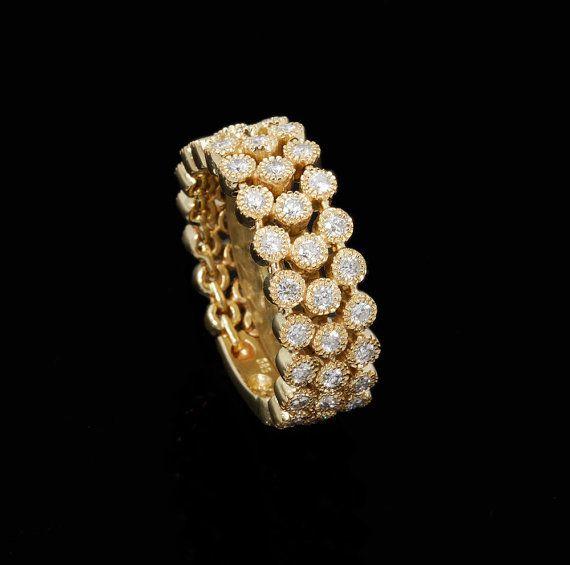 Diamond ring 0 96 ct Yellow Gold Designer Diamond ring with 48