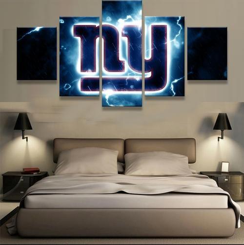 5 Pieces New York Giants Ny Logo Modern Home Wall Decor Painting Canvas Art Hd Print