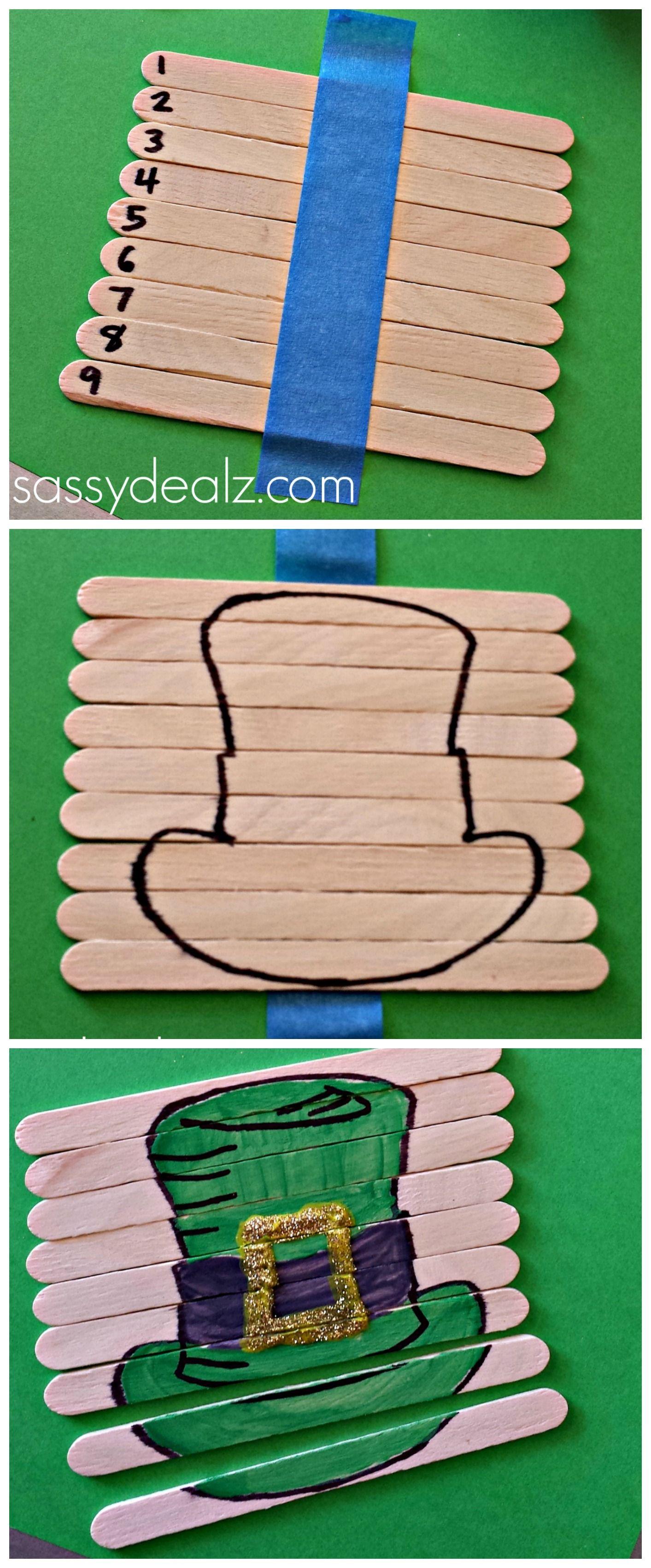 Leprechaun Hat Popsicle Stick Puzzle For St Patricks Day Kids Activity Diy