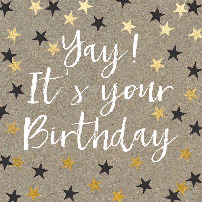 A fabulous birthday card adorned with black and gold stars With – Sophisticated Birthday Cards