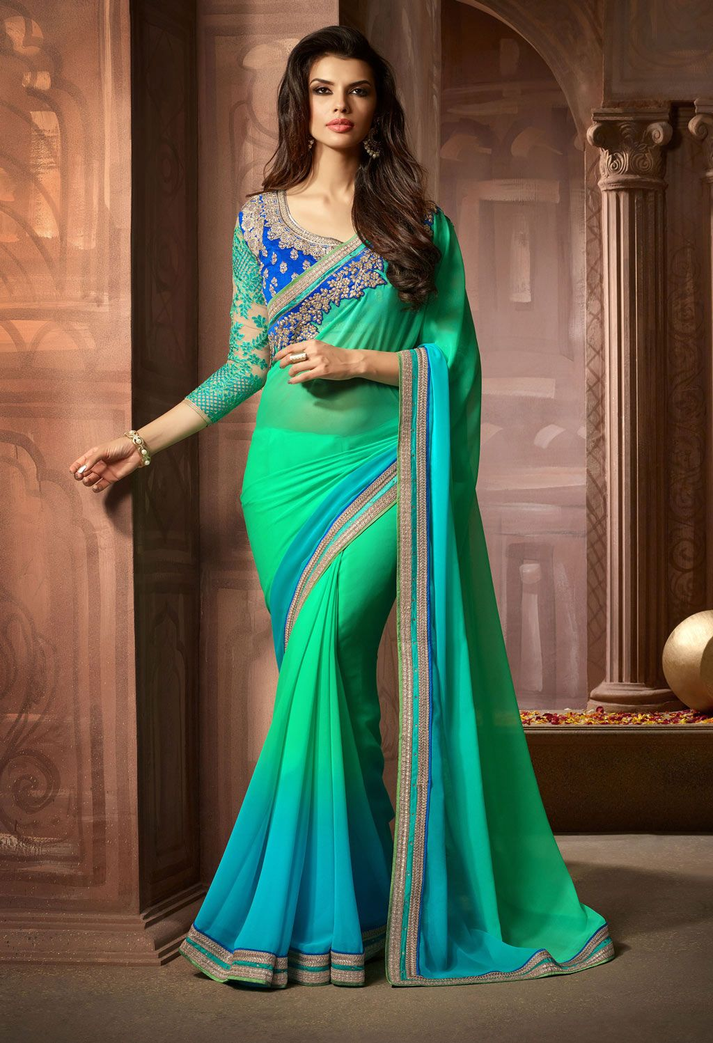 Royal blue n yellow dress  Sky Blue Georgette Party Wear Saree   Indian Clothing