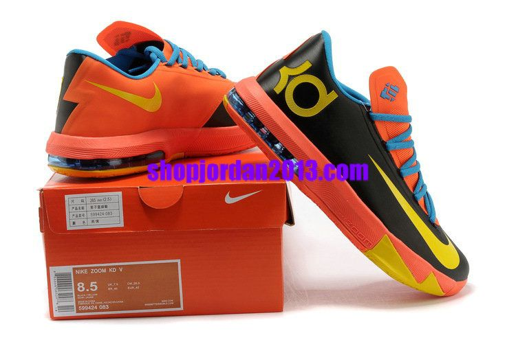 bde58951b803 Nike Zoom KD 6(VI) Shoes Black-Blue Team Orange-Yellow Kevin Durant Shoes   Orange  Womens  Sneakers