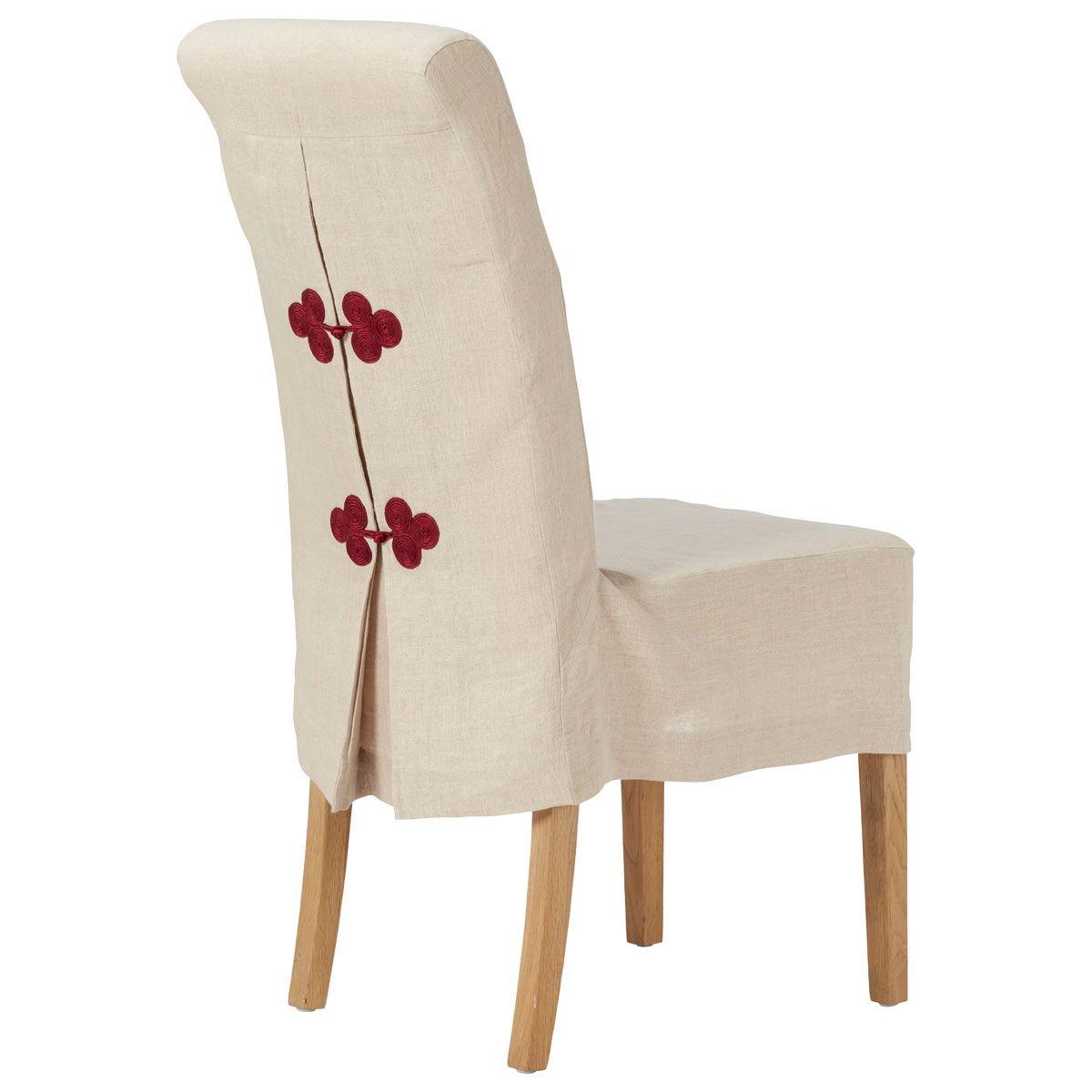 Guizhou Linen Slip Cover For Echo Dining Chair Natural Red In 2021 Dining Chair Covers Slipcovers Dining Room Chair Slipcovers Chair Covers Slipcover