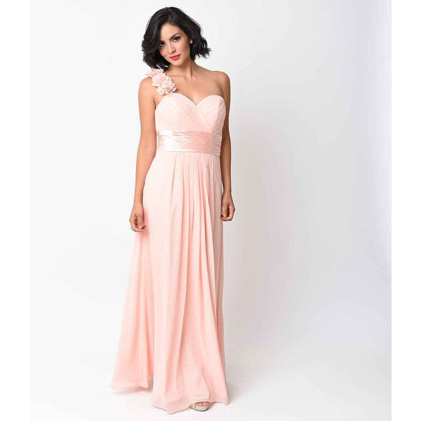 Blush Chiffon Floral Cold Shoulder Long Gown ($88) ❤ liked on ...
