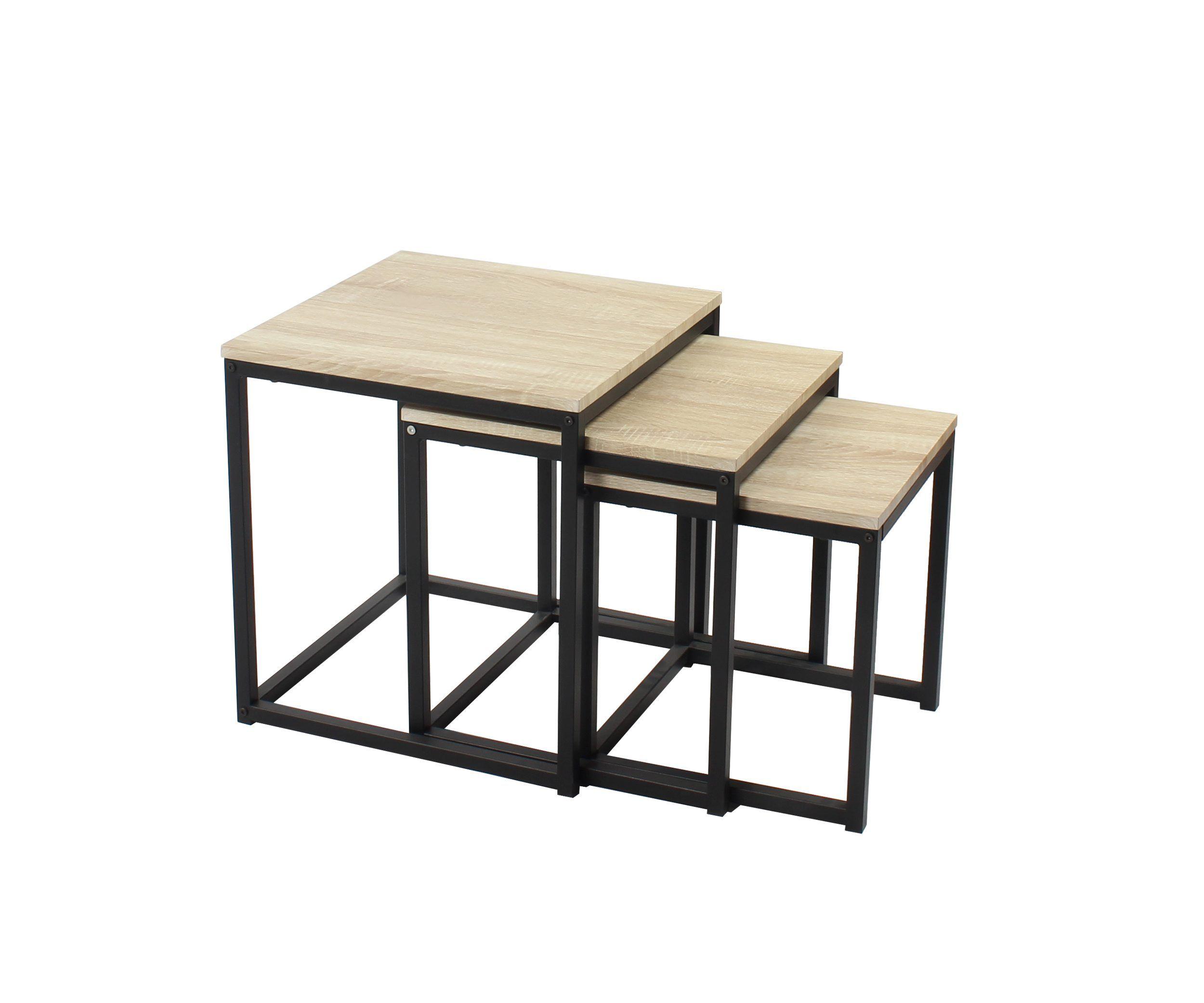 Table Basse Gigogne Neva Industrielle Chene Noir Table Basse