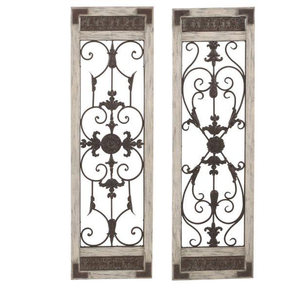Wood Metal Scroll Wall Door Decor Set Of 2 Wrought Iron Wall Decor Iron Wall Decor Wall Decor Design