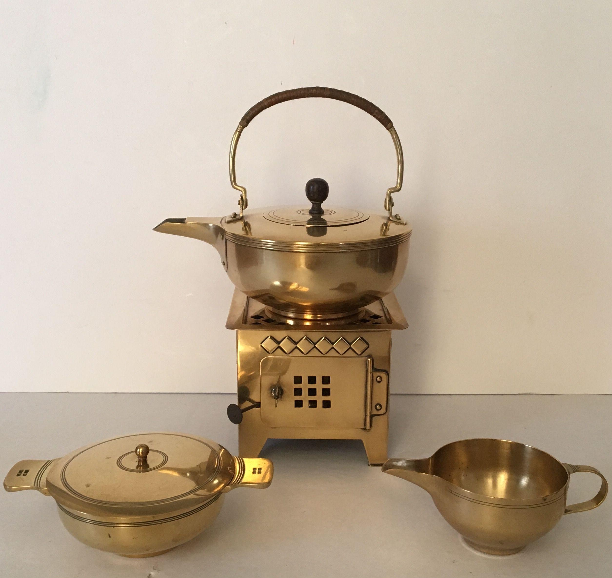 dutch nieuwe kunst brass coffee set made by jan eisenloeffel in 1905