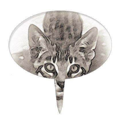 cute bengal kitten drawing cake topper drawing sketch design graphic draw personalize