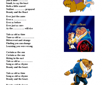 Song Worksheet Beauty And The Beast Beauty And The Beast Songs Beast Song