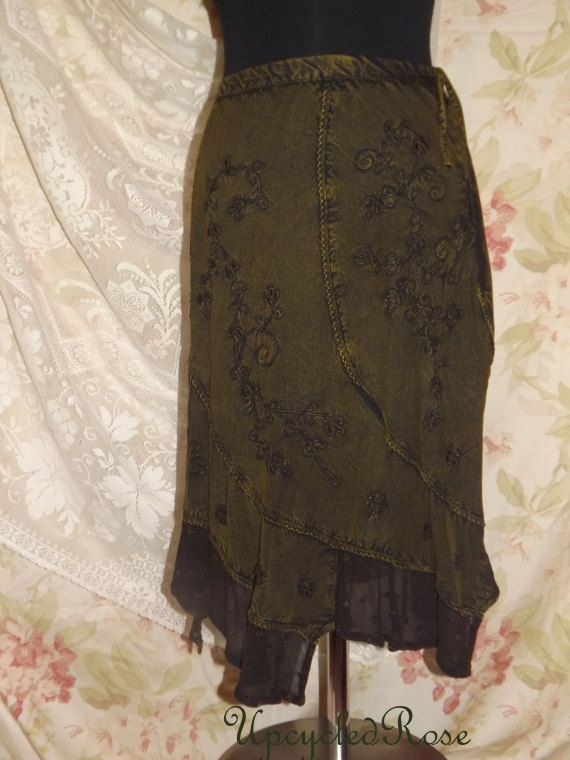 Mossy Maggie Upcycled Skirt Bohemian Chic by UpcycledRose on Etsy, $46.00