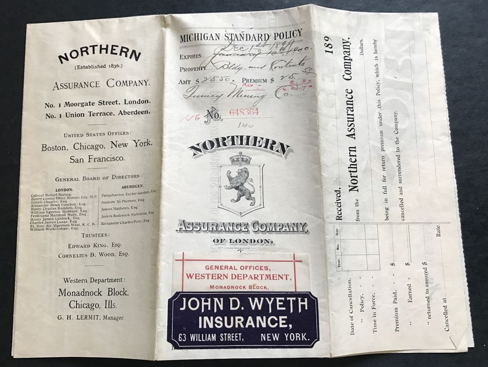 Quincy Mining Company 1899 Insurance Policy Northern