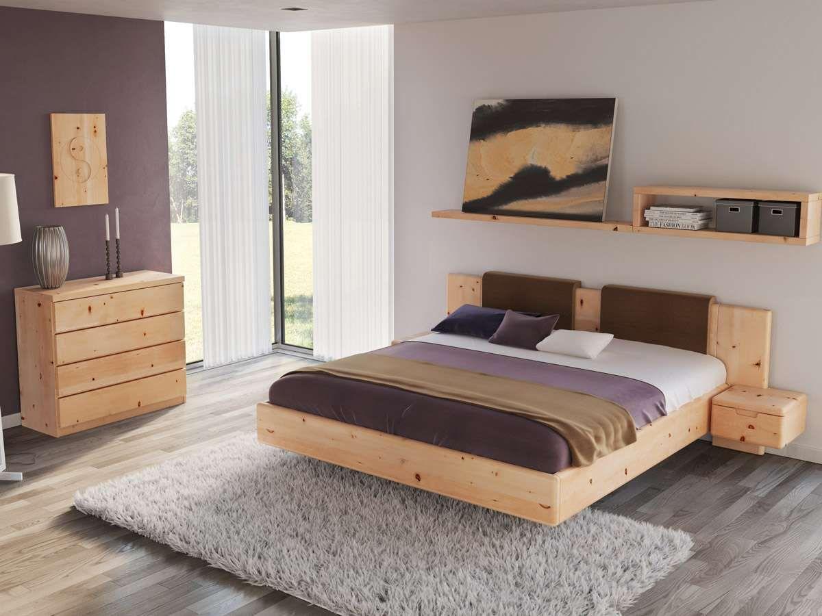 schlafzimmer aus massivholz zirbe mit zirbenbett lilli 180 x 200 cm mit schmalen nachttischen. Black Bedroom Furniture Sets. Home Design Ideas