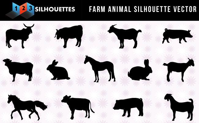 Good Set Of Farm Animals Silhouettes Vectors Free Download Farm Animal Silhouette Animal Silhouette Silhouette Vector