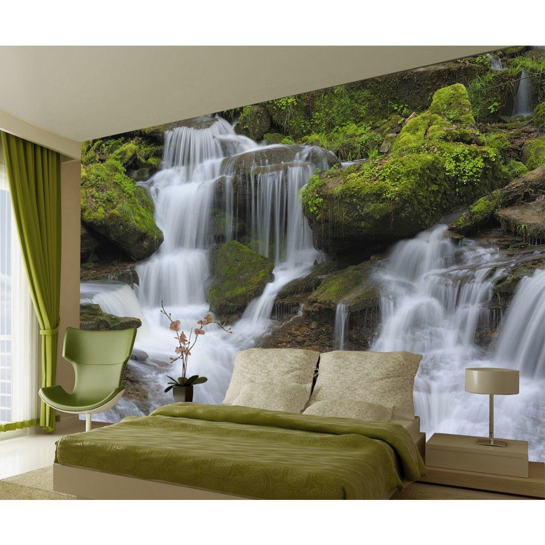 25 Wall Mural Designs: Waterfall And Rocks Wall Mural