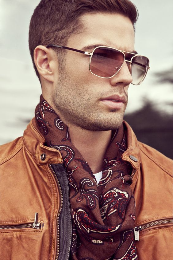 The Scarf Look - with Tan Leather jacket