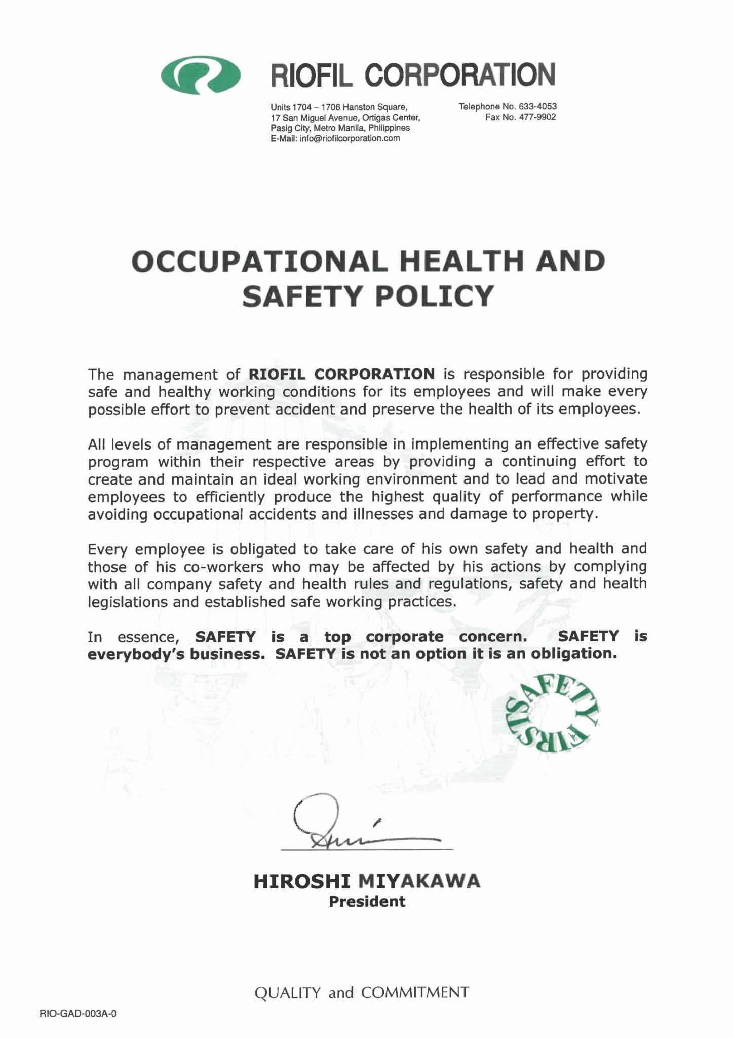 Safety Statement Sample | Mission statement examples ...