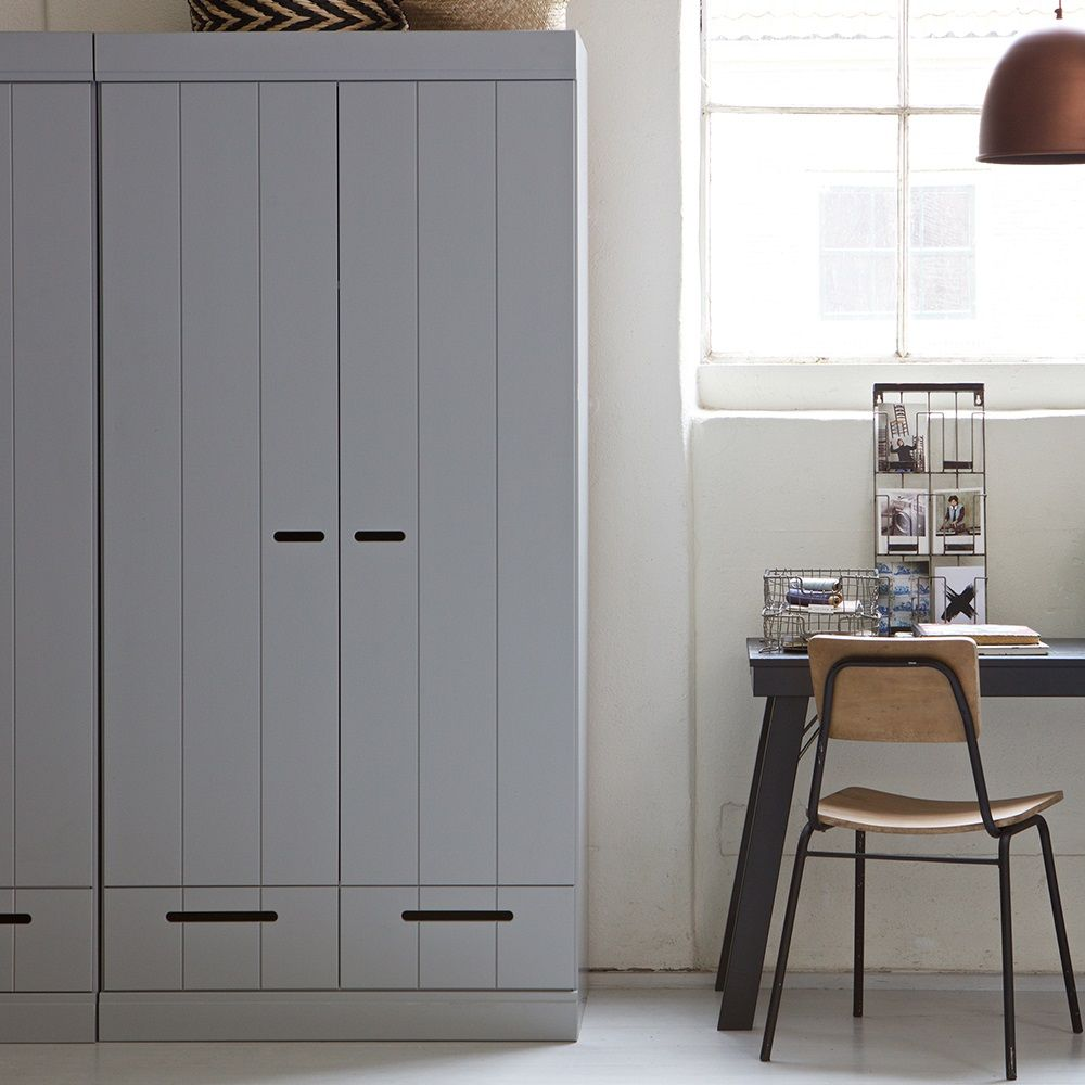 Connect Contemporary 2 Door Wardrobe In Concrete Grey By Woood Storage Cabinet 2 Door Wardrobe